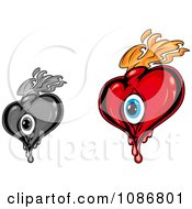 Clipart Eyed Hearts With Flames 3 Royalty Free Vector Illustration