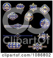 Clipart Gold And Blue Flourish Rule And Border Design Elements Royalty Free Vector Illustration
