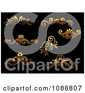 Clipart Golden Flourish Rule And Border Design Elements 1 Royalty Free Vector Illustration
