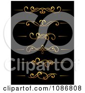 Clipart Golden Flourish Rule And Border Design Elements 2 Royalty Free Vector Illustration