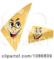 Clipart Cheese Wedge Faces Royalty Free Vector Illustration