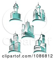 Clipart Blue City Skyscraper Buildings Royalty Free Vector Illustration by Vector Tradition SM