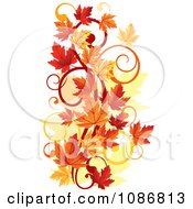 Clipart Vertical Autumn Leaf Swirl Royalty Free Vector Illustration