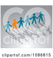 Clipart Orange Paper Person Holding Hands With Blue People Royalty Free Vector Illustration