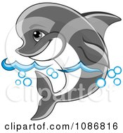 Clipart Gray Dolphin Swimming Through The Surf Royalty Free Vector Illustration by Vector Tradition SM