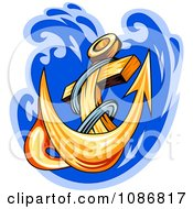 Clipart Gold Anchor Splashing Into Blue Water Royalty Free Vector Illustration