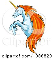Clipart Rearing Unicorn With Orange Hair Royalty Free Vector Illustration
