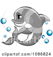 Clipart Gray Dolphin Swimming With Bubbles Royalty Free Vector Illustration by Vector Tradition SM