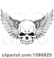 Clipart Winged Skull Black And White Royalty Free Vector Illustration