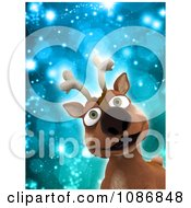 3d Christmas Reindeer Smiling Over Blue Sparkles