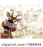 Clipart 3d Christmas Reindeer Over Gold Sparkles Royalty Free CGI Illustration