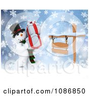 Clipart 3d Christmas Snowman Carrying Gifts By A Sign In The Snow Royalty Free CGI Illustration