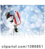 Clipart 3d Christmas Snowman Carrying Presents In The Snow Royalty Free CGI Illustration by KJ Pargeter