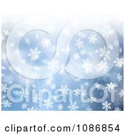 Clipart 3d Falling Snowflakes Over Blue Background Royalty Free CGI Illustration