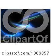 Clipart Twisting Blue Fractal On Black Background Royalty Free CGI Illustration