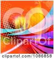Orange Halftone Background With Colorful Swooshes