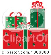 Clipart Festively Wrapped Christmas Gifts Royalty Free Vector Illustration