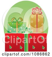 Clipart Festively Wrapped Xmas Gifts And Green Oval Royalty Free Vector Illustration