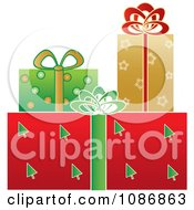 Clipart Festively Wrapped X Mas Gifts Royalty Free Vector Illustration