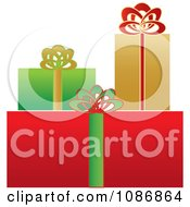 Clipart Gold Green And Red Wrapped Christmas Gifts Royalty Free Vector Illustration