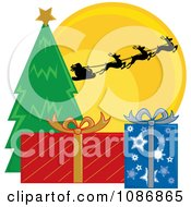 Clipart Santas Sleigh And Reindeer Against The Christmas Eve Moon Over A Tree And Presents Royalty Free Vector Illustration by Pams Clipart