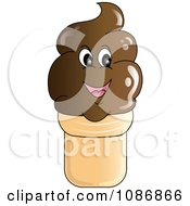 Clipart Smiling Chocolate Ice Cream Cone Character Royalty Free Vector Illustration
