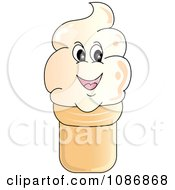 Clipart Smiling Vanilla Ice Cream Cone Character Royalty Free Vector Illustration by Pams Clipart