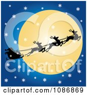 Flying Reindeer And Santas Sleigh Against The Moon On A Snowy Christmas Eve