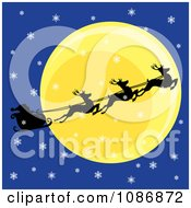 Silhouetted Flying Reindeer And Santas Sleigh Against The Moon On A Snowy Christmas Eve