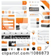 Clipart Orange Gray And Black Website Navigation Design Elements Royalty Free Vector Illustration by TA Images #COLLC1086873-0125