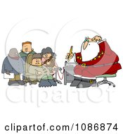 Clipart Group Of Kids Waiting For Santas Lie Detector Test Royalty Free Vector Illustration