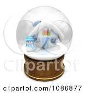 Clipart 3d Snowman And House In A Snow Globe Royalty Free CGI Illustration