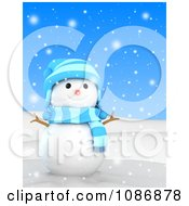 Clipart 3d Christmas Snowman In The Snow 1 Royalty Free CGI Illustration