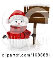 Clipart 3d Snowman In A Santa Suit By A Wood Sign Royalty Free CGI Illustration