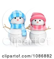 Clipart 3d Girl And Boy Snowmen Royalty Free CGI Illustration