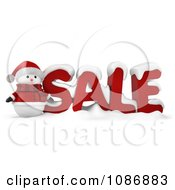 Clipart 3d Santa Snowman By SALE Royalty Free CGI Illustration