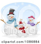 Clipart Snowman Family Holding Their Arms Up Royalty Free Vector Illustration