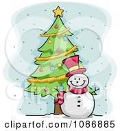 Clipart Winter Snowman By A Christmas Tree Royalty Free Vector Illustration