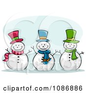Clipart Three Jolly Snowmen Royalty Free Vector Illustration by BNP Design Studio