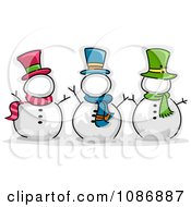 Clipart Three Snowmen With Blank Frame Faces Royalty Free Vector Illustration