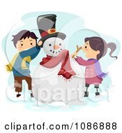 Clipart Kids Putting A Hat And Stick On A Snowman Royalty Free Vector Illustration