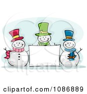 Clipart Three Winter Snowmen With A Blank Sign Royalty Free Vector Illustration
