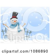 Clipart White Christmas Winter Snowman Background Royalty Free Vector Illustration