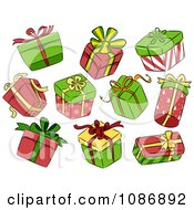 Clipart Background Of Christmas Gift Boxes On White Royalty Free Vector Illustration