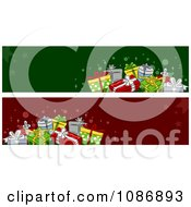 Clipart Red And Green Christmas Gift Website Banners Royalty Free Vector Illustration