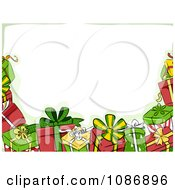 Clipart Border Of Christmas Gifts And Green Royalty Free Vector Illustration