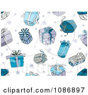 Clipart Background Of Blue Christmas Gifts And Stars On White Royalty Free Vector Illustration