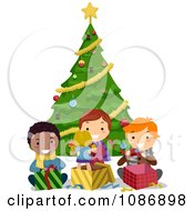 Clipart Friends Opening Their Christmas Presents By A Tree Royalty Free Vector Illustration by BNP Design Studio