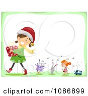 Clipart Happy Girl Carrying A Christmas Gift Followed By Singing Toys Royalty Free Vector Illustration