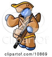 Blue Man In Hunting Gear Carrying A Rifle Clipart Illustration
